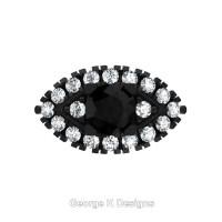 French 14K Black Gold 1.0 Ct Black and White Diamond Marquise Eye Wedding Ring R409-14KBGDBD
