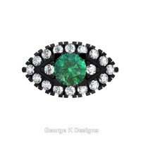 French 14K Black Gold 1.0 Ct Emerald Diamond Marquise Eye Wedding Ring R409-14KBGDEM
