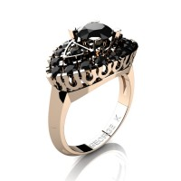 Classic French 14K Rose Gold 1.0 Ct Black Diamond Marquise Eye Wedding Ring R409-14KRGBD