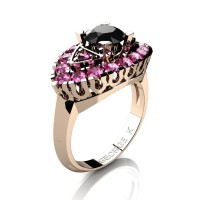Classic French 14K Rose Gold 1.0 Ct Black Diamond Pink Sapphire Marquise Eye Wedding Ring R409-14KRGPSBD