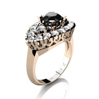 French 14K Rose Gold 1.0 Ct Black and White Diamond Marquise Eye Wedding Ring R409-14KRGDBD
