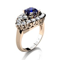 Classic French 14K Rose Gold 1.0 Ct Royal Blue and White Sapphire Marquise Eye Wedding Ring R409-14KRGWSBS