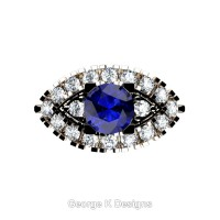 French 14K Rose Gold 1.0 Ct Blue Sapphire Diamond Marquise Eye Wedding Ring R409-14KRGDBS