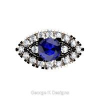 French 14K Rose Gold 1.0 Ct Blue Sapphire Diamond Marquise Eye Wedding Ring R409-14KRGDBS