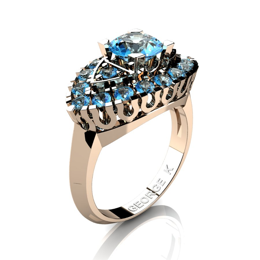 classic french 14k rose gold 1 carat blue - Blue Topaz Wedding Rings