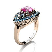 Classic French 14K Rose Gold 1.0 Ct Pink Sapphire Blue Topaz Marquise Eye Wedding Ring R409-14KRGBTPS