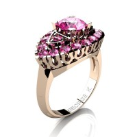 Classic 14K Rose Gold 1.0 Ct Pink Sapphire Marquise Eye Wedding Ring R409-14KRGPS