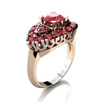 Classic French 14K Rose Gold 1.0 Ct Ruby Marquise Eye Wedding Ring R409-14KRGR
