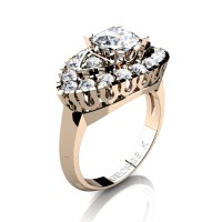 French 14K Rose Gold 1.0 Ct White Sapphire Diamond Marquise Eye Wedding Ring R409-14KRGDWS