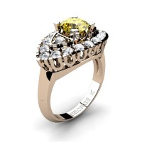 Classic French 14K Rose Gold 1.0 Ct Yellow and White Sapphire Marquise Eye Wedding Ring R409-14KRGWSYS