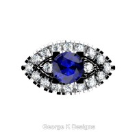 French 14K White Gold 1.0 Ct Blue Sapphire Diamond Marquise Eye Wedding Ring R409-14KWGDBS