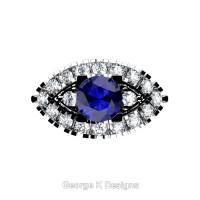 French 14K White Gold 1.0 Ct Blue Sapphire Diamond Marquise Eye Wedding Ring R409-14KWGDBS
