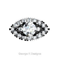 French 14K White Gold 1.0 Ct White Sapphire Diamond Marquise Eye Wedding Ring R409-14KWGDWS