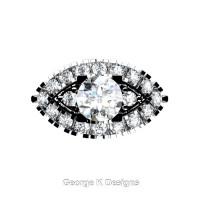 French 14K White Gold 1.0 Ct White Sapphire Diamond Marquise Eye Wedding Ring R409-14KWGDWS