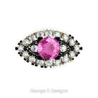 French 14K Yellow Gold 1.0 Ct Pink Sapphire Diamond Marquise Eye Wedding Ring R409-14KYGDPS