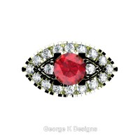 French 18K Green Gold 1.0 Ct Ruby Diamond Marquise Eye Wedding Ring R409-18KGGDR