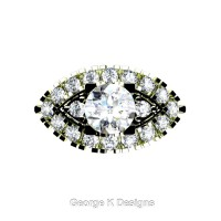 French 18K Green Gold 1.0 Ct White Sapphire Diamond Marquise Eye Wedding Ring R409-18KGGDWS