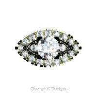 French 18K Green Gold 1.0 Ct White Sapphire Diamond Marquise Eye Wedding Ring R409-18KGGDWS