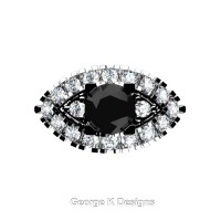 French 14K White Gold 1.0 Ct Black and White Diamond Marquise Eye Wedding Ring R409-14KWGDBD