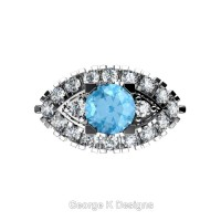 French 14K White Gold 1.0 Ct Blue Topaz Diamond Marquise Eye Wedding Ring R409-14KWGDBT