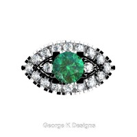 French 14K White Gold 1.0 Ct Emerald Diamond Marquise Eye Wedding Ring R409-14KWGDEM