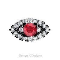 French 14K White Gold 1.0 Ct Ruby Diamond Marquise Eye Wedding Ring R409-14KWGDR