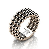 Mens Modern Industrial 14K Rose Gold Neo Sphere Wedding Band RK103M-14KRG
