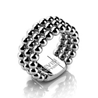 Mens Modern Industrial 14K White Gold Neo Sphere Wedding Band RK103M-14KWG
