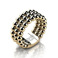 Mens Modern Industrial 14K Yellow Gold Neo Sphere Wedding Band RK103M-14KYG