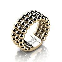 Mens Modern Industrial 14K Yellow Gold Neo Sphere Wedding Band RK103M-14KYG