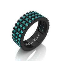 Mens 14K Black Gold Micro V Pave Blue Diamond Modern French Wedding Ring A1003-14KBGBLD