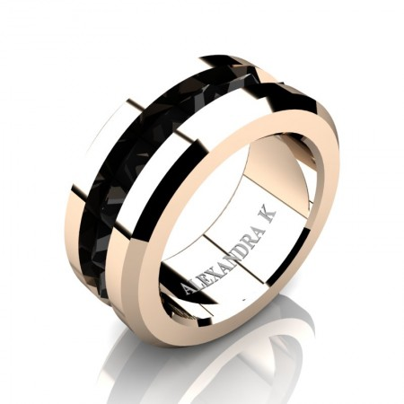 Alexandra-K-Modern-14K-Rose-Gold-Inverted-Princess-Black-Diamond-Channel-Cluster-Wedding-Ring-A1000-14KRGBD-P