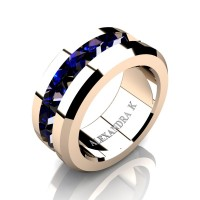 Mens Modern 14K Rose Gold Inverted Princess Blue Sapphire Channel Cluster Wedding Ring A1000-14KRGBS