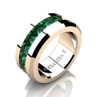 Mens Modern 14K Rose Gold Inverted Princess Emerald Channel Cluster Wedding Ring A1000-14KRGEM