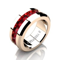 Mens Modern 14K Rose Gold Inverted Princess Ruby Channel Cluster Wedding Ring A1000-14KRGR
