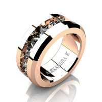 Mens Modern 14K Rose Gold Inverted Princess White Sapphire Channel Cluster Wedding Ring A1000-14KRGWS