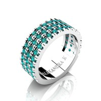 Mens 14K White Gold Micro V Pave Blue Diamond Modern French Wedding Ring A1003-14KWGBLD