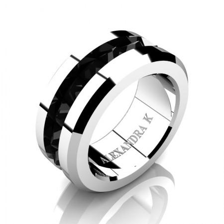 Alexandra-K-Modern-14K-White-Gold-Inverted-Princess-Black-Diamond-Channel-Cluster-Wedding-Ring-A1000-14KWGBD-P