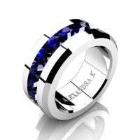 Mens Modern 14K White Gold Inverted Princess Blue Sapphire Channel Cluster Wedding Ring A1000-14KWGBS