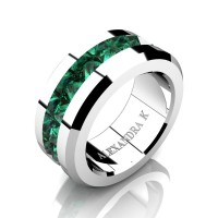Mens Modern 14K White Gold Inverted Princess Emerald Channel Cluster Wedding Ring A1000-14KWGEM