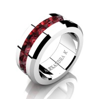 Mens Modern 14K White Gold Inverted Princess Ruby Channel Cluster Wedding Ring A1000-14KWGR