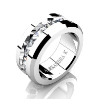 Mens Modern 14K White Gold Inverted Princess White Sapphire Channel Cluster Wedding Ring A1000-14KWGWS