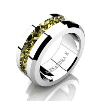 Mens Modern 14K White Gold Inverted Princess Yellow Sapphire Channel Cluster Wedding Ring A1000-14KWGYS