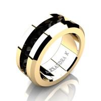 Mens Modern 14K Yellow Gold Inverted Princess Black Diamond Channel Cluster Wedding Ring A1000-14KYGBD