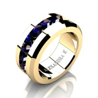 Mens Modern 14K Yellow Gold Inverted Princess Blue Sapphire Channel Cluster Wedding Ring A1000-14KYGBS