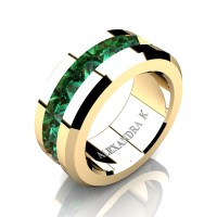 Mens Modern 14K Yellow Gold Inverted Princess Emerald Channel Cluster Wedding Ring A1000-14KYGEM