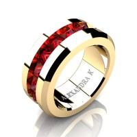 Mens Modern 14K Yellow Gold Inverted Princess Ruby Channel Cluster Wedding Ring A1000-14KYGR