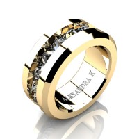 Mens Modern 14K Yellow Gold Inverted Princess White Sapphire Channel Cluster Wedding Ring A1000-14KYGWS
