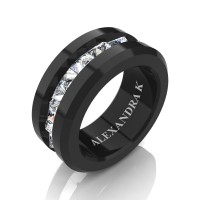 Mens Modern 14K Black Gold Inverted Princess White Sapphire Channel Cluster Wedding Ring A1000-14KBGWS