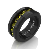 Mens Modern 14K Black Gold Inverted Princess Yellow Sapphire Channel Cluster Wedding Ring A1000-14KBGYS